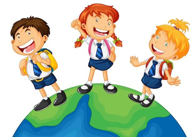 Three Kids In School Uniform Standing On Earth Premium Vector