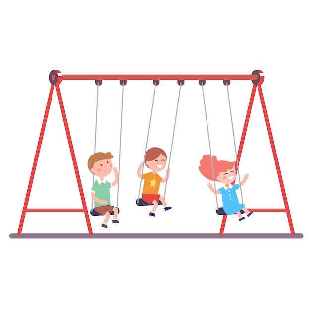 Three kids swinging on a swing together Free Vector