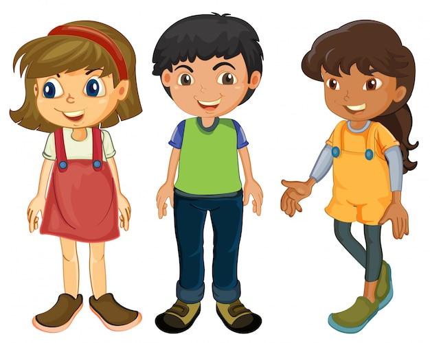 Three kids Free Vector