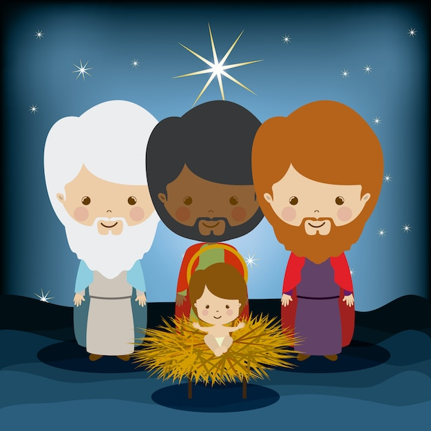The three kings in manger with jesus, epiphany Premium Vector