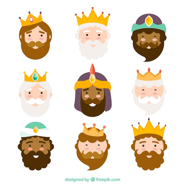 Three kings of orient, characters Free Vector