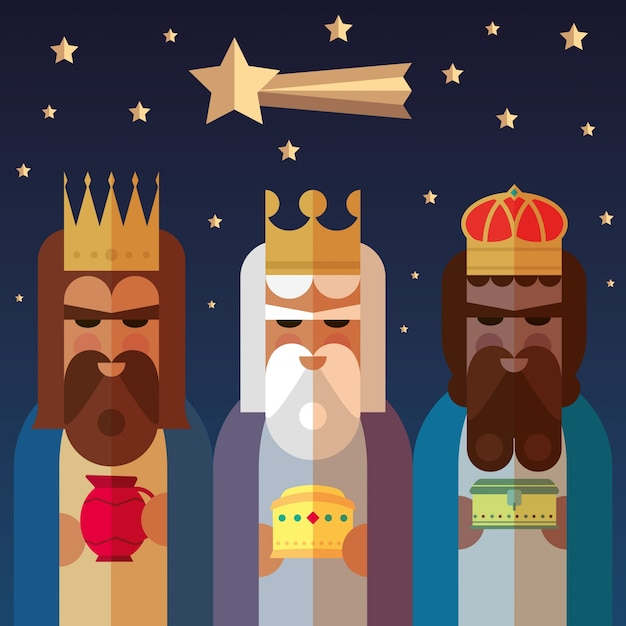 The three kings of orient. wise men illustration. Free Vector