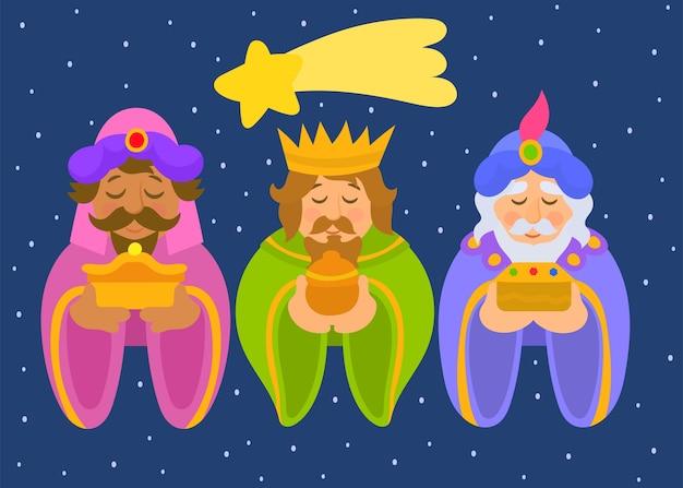 Три короля. три мудрых мужчины Premium векторы