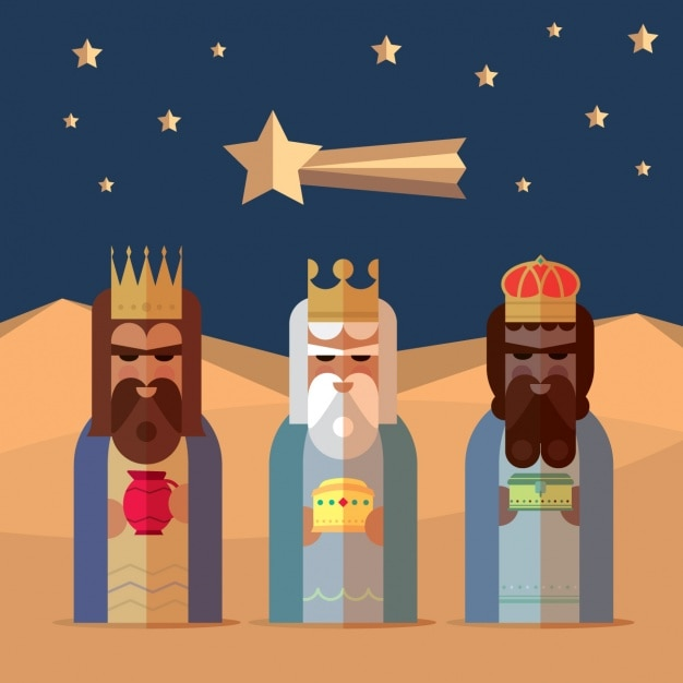 Three kings with flat style Free Vector