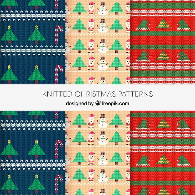 Three Knitted Christmas Patterns Vector Free Download