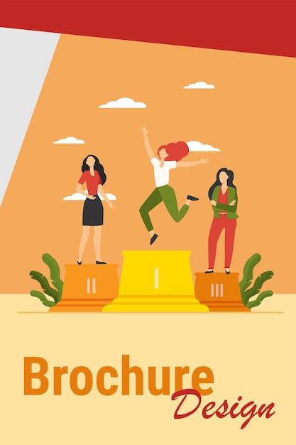Tre leader in piedi sul podio. vincitore che celebra il successo, secondo e terzo posto illustrazione vettoriale piatta. concorso, premio, concetto di successo Vettore gratuito