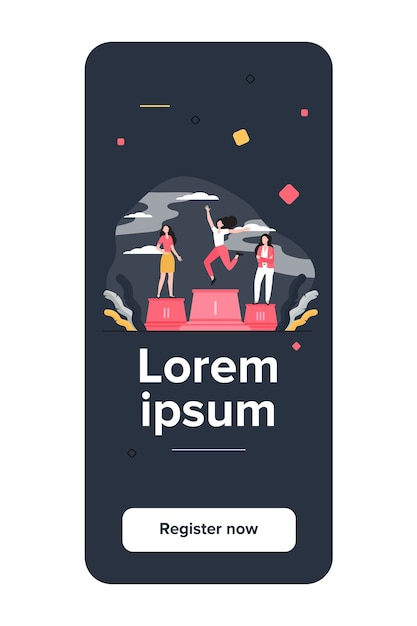 Three leaders standing on podium. winner celebrating success, second and third place flat vector illustration Free Vector