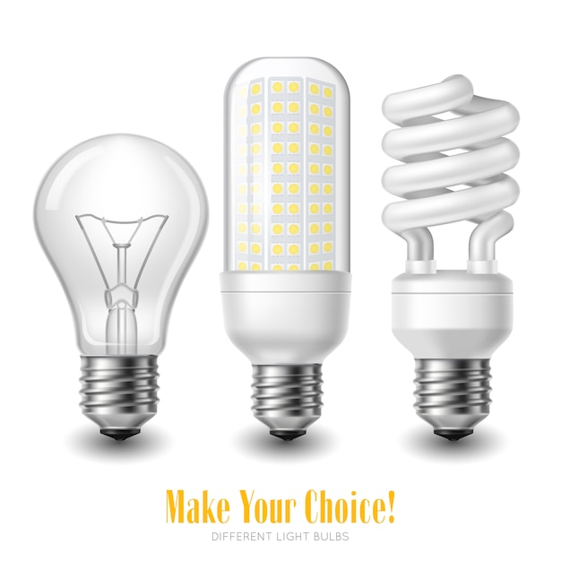 Three led light bulbs of different shape on white background Free Vector