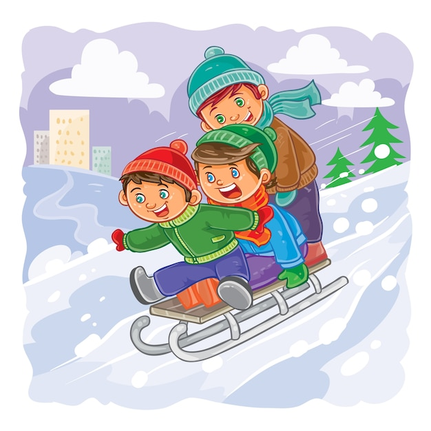 Three little boys roll together on sled from a hill