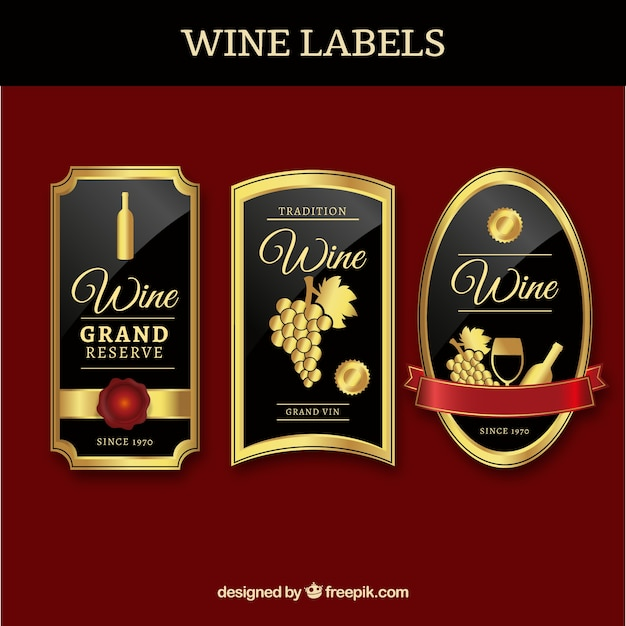 Three Luxury Wine Labels Vector
