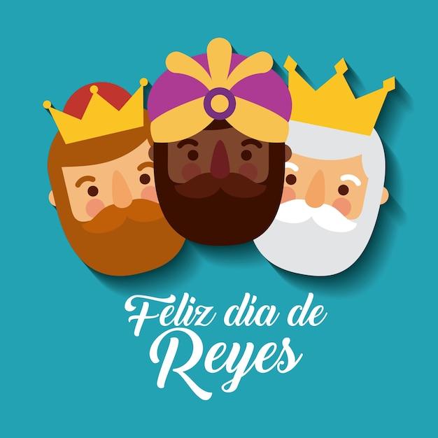 Три волшебных царя приносят подарки иисусу Premium векторы