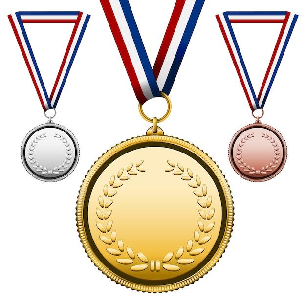 3つのメダルセット 無料ベクター