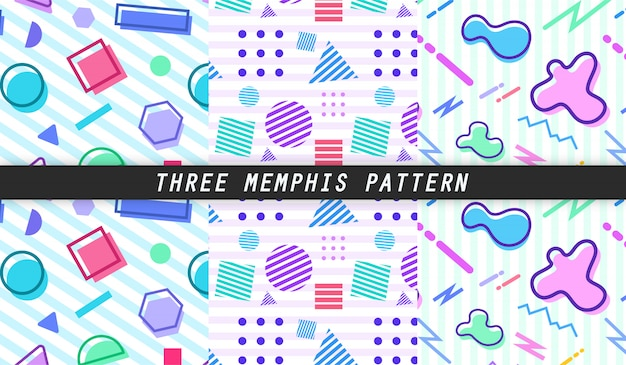 Three memphis pattern Premium Vector