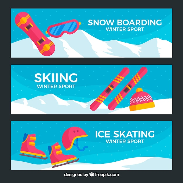 Three modern winter sport banners