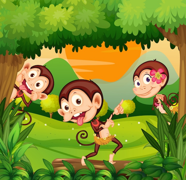 숲에서 춤을 세 원숭이 무료 벡터