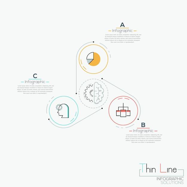 Three multicolored circles with icons Premium Vector