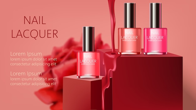 Three nail lacquer containers on podiums with liquid pouring down. realistic. . place for text Premium Vector