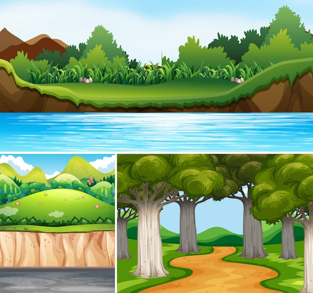 Three nature scenes with river and road Free Vector