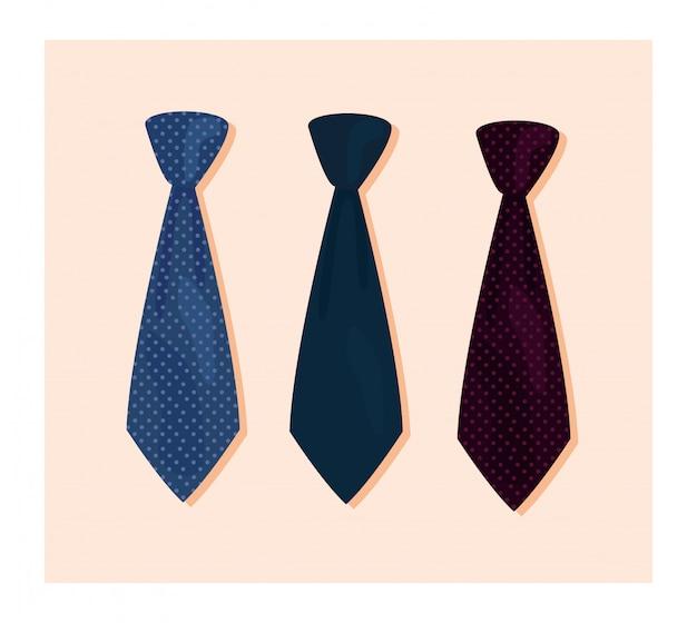 Three necktie accessories ilustration Premium Vector
