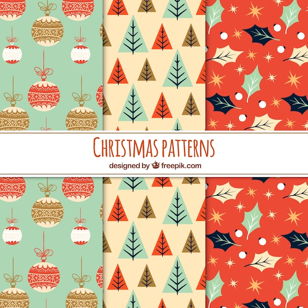Three nice christmas patterns in vintage style Free Vector
