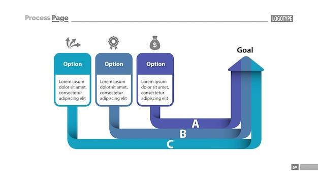 Three Options Arrow Chart Slide Template