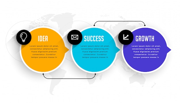Three options steps infographic modern template Free Vector