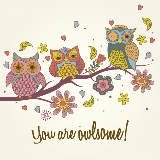 three owls on a branch vector | free download