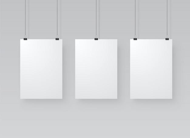Три бумажных плаката макет Premium векторы