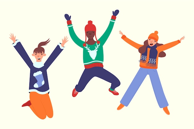 Three people wearing winter clothes jumping Free Vector