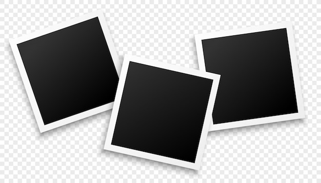 Three photo frames on transparent background Free Vector
