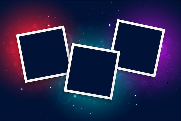 Three photo frames with glowing light effect background Free Vector