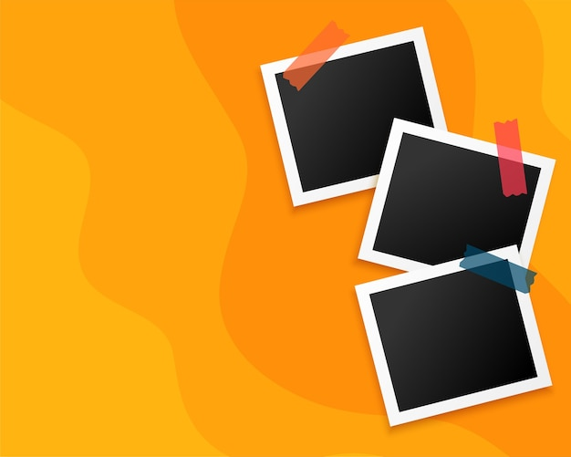 Three photo frames on yellow background design Free Vector