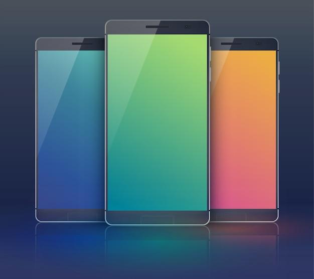 검은 색 필드에 현대적인 동일 휴대폰이 있지만 파란색 녹색 및 주황색 디지털 블랭크 터치 스크린이있는 3 피스 의상 스마트 폰 컬렉션 무료 벡터