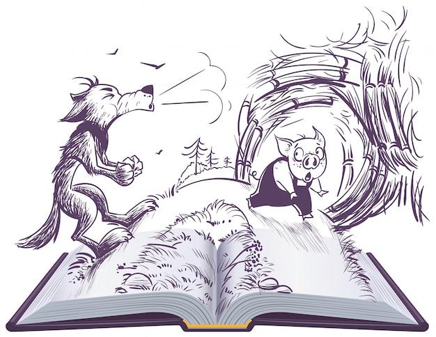 Иллюстрация 3 сказок свиней открытая. волк дует сломал дом Premium векторы