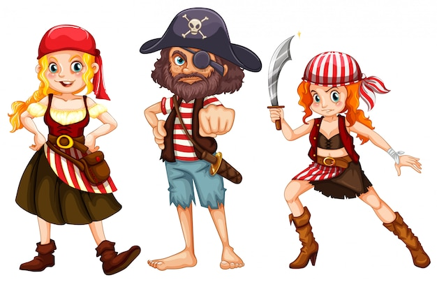 Three pirate characters on white background Free Vector