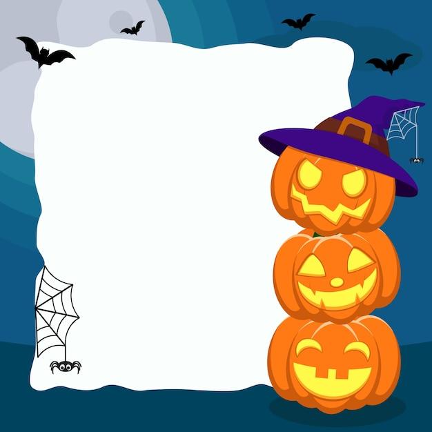 Три тыквы с лицами возле белого листа на синем с летучими мышами и пауками. Premium векторы