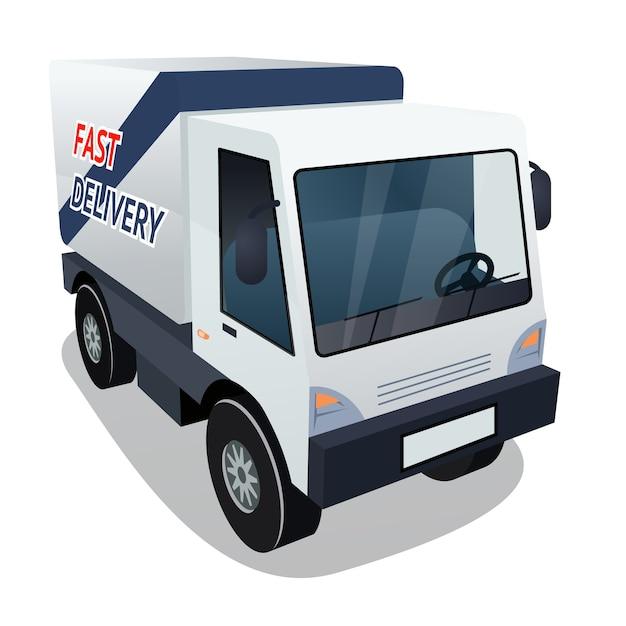 Three quarter of delivery cargo truck vector graphic Free Vector