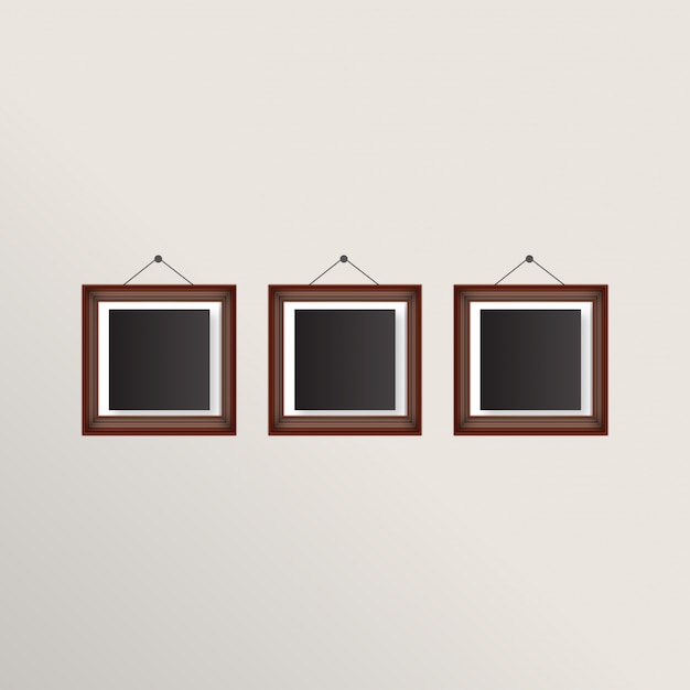 Three realistic frames with brown border Free Vector