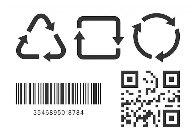バーコードとqrコードが白い背景で隔離の3つのリサイクルアイコン Premiumベクター
