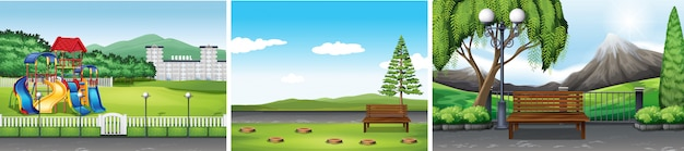 Three scene backgrounds of public park Free Vector