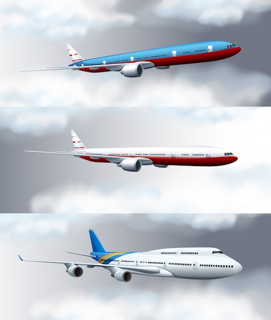 Three scene backgrounds with jet planes flying in sky Free Vector
