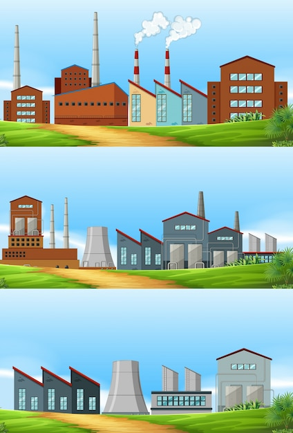 Three scenes with factories in the field Free Vector