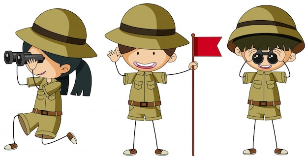 Three scouts in different actions Free Vector