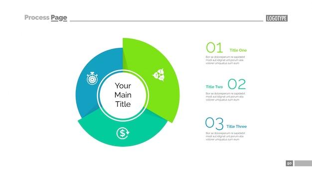Three sectors segments slide template Free Vector
