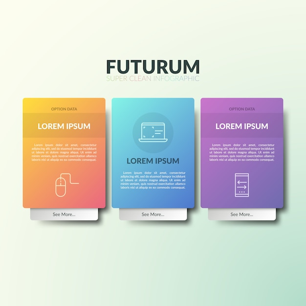 Three separate rectangular elements with thin line pictograms, headings, text boxes and additional tab. Premium Vector