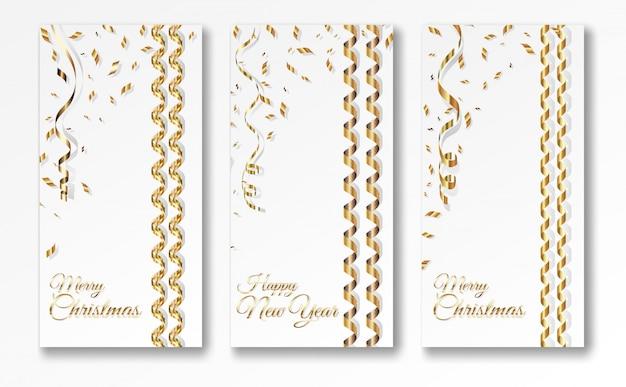 Three serpentine christmas banner templates Premium Vector