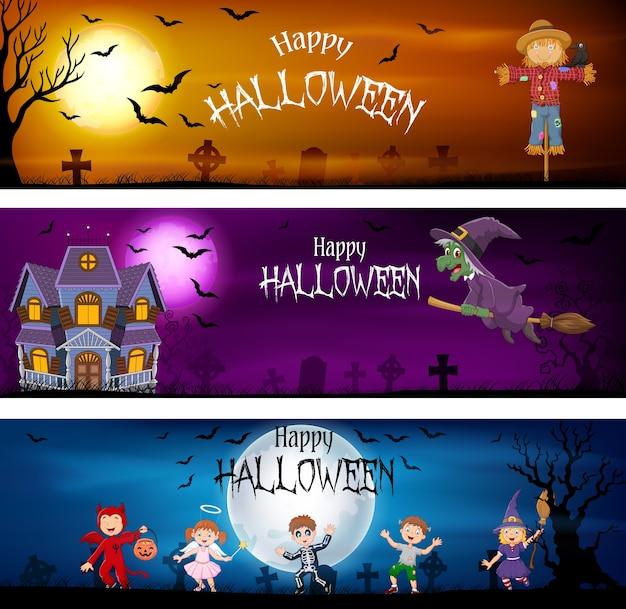 Three set of halloween banners Premium Vector
