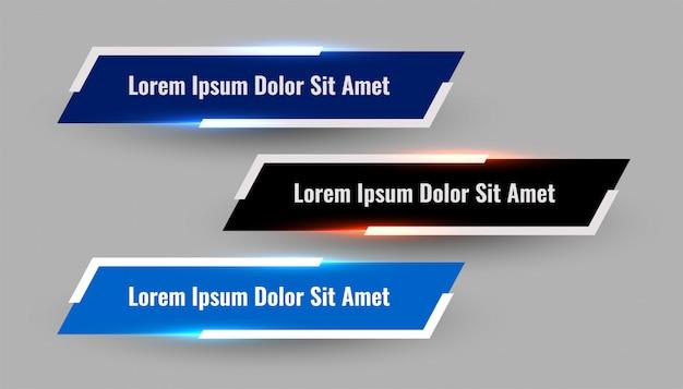 3 개의 빛나는 기하학적 더 낮은 세 번째 현대 템플릿 무료 벡터