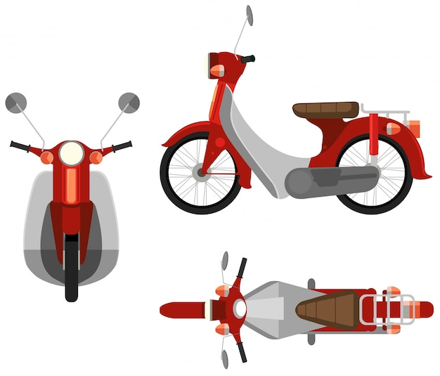 Вид с трех сторон мотоцикла Бесплатные векторы