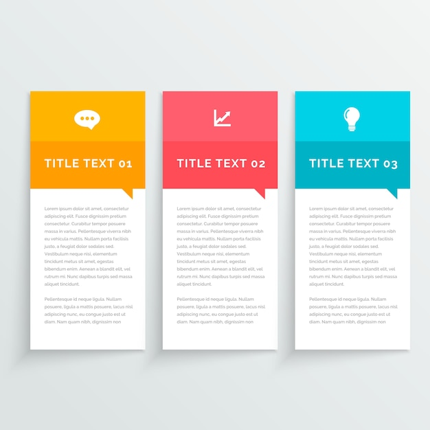Three simple infographic banners with different colors ...